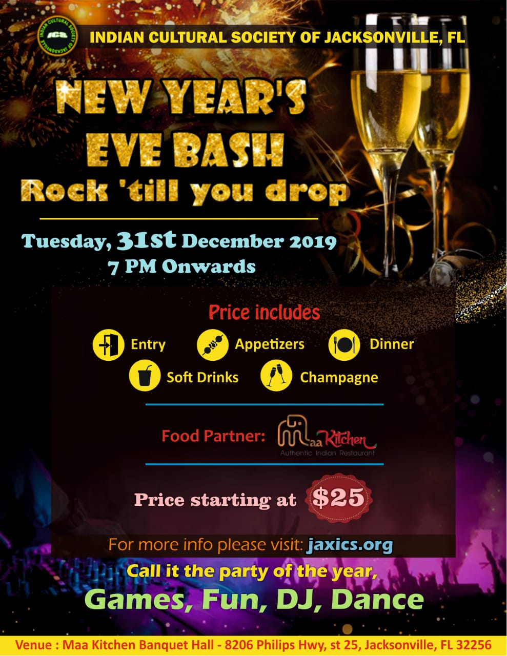 ICS New Year's Eve Bash 2091 flyer